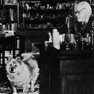 Freud ve Yofi, Freud'un Viyana'daki ofisinde. Tarih bilinmiyor.